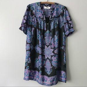 Tibi Designer Silk Paisley Shift Dress - 2
